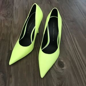 Zara lime green pointy toe pump high heel